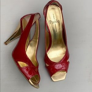 Linea Paolo red gold heels. Size 7.